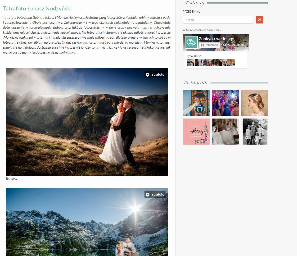 Najlepszy fotograf ślubny na Podhalu według Zankyou