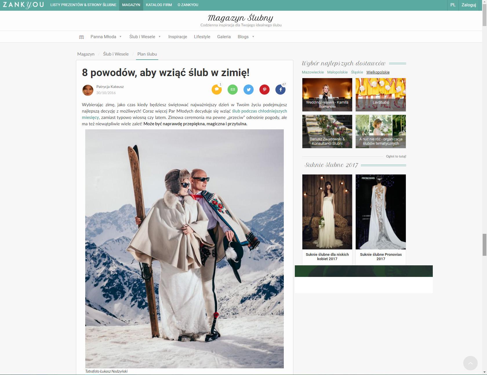 8 powodów, aby wziąć ślub w zimie!