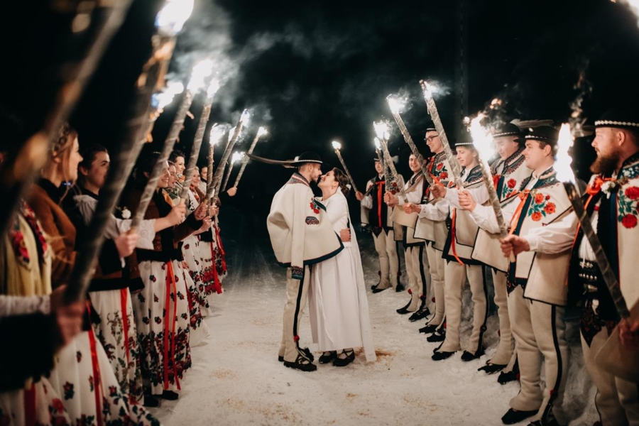 Góralski ślub zimą – Dworek za Gościńcem – Paulina i Dawid